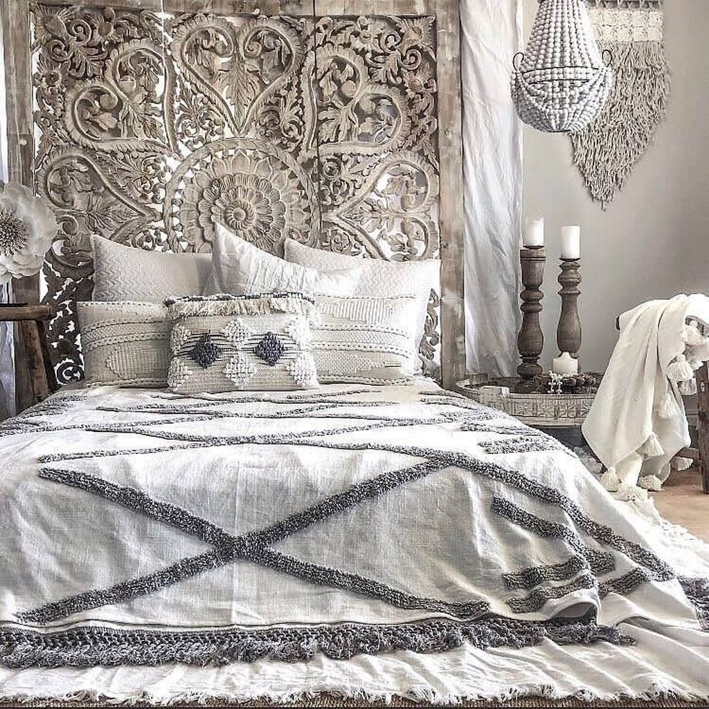 Unique headboard for rustic bedroom