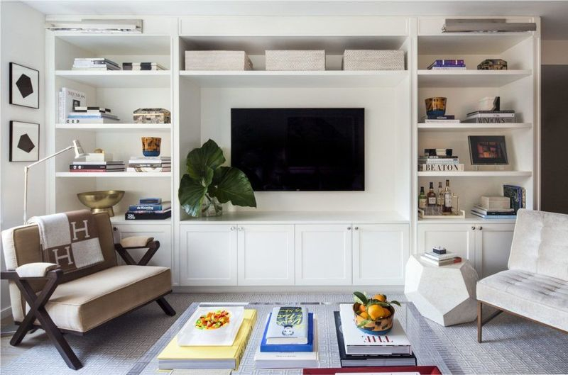 White cabinets for living room