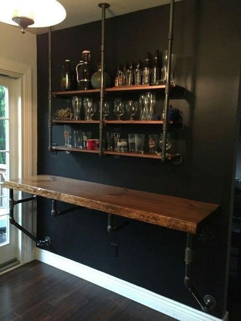 Wood iron industrial shelve bar