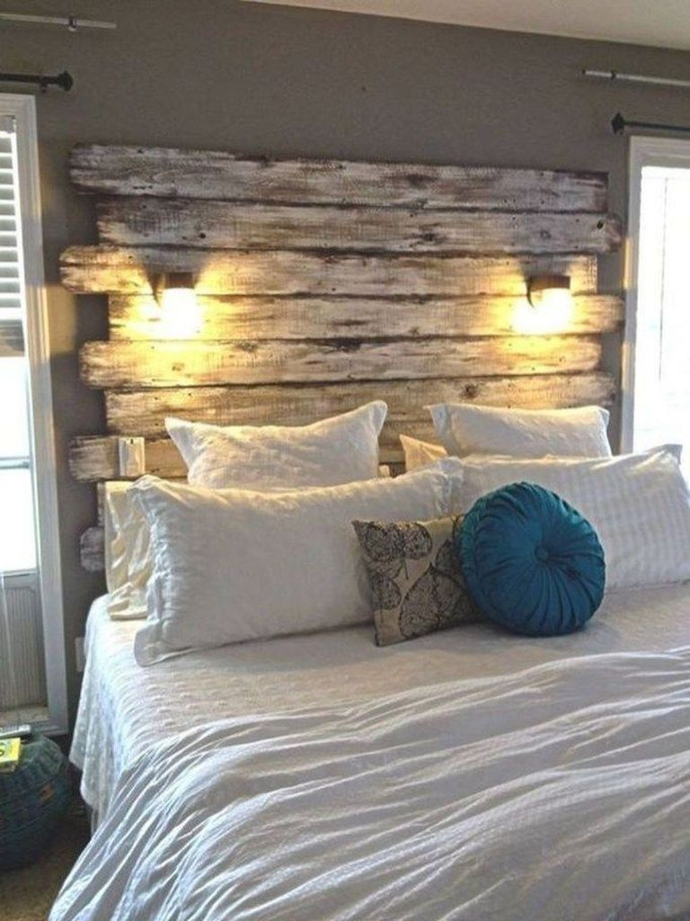 Wooden headboard combined with decorative lighting