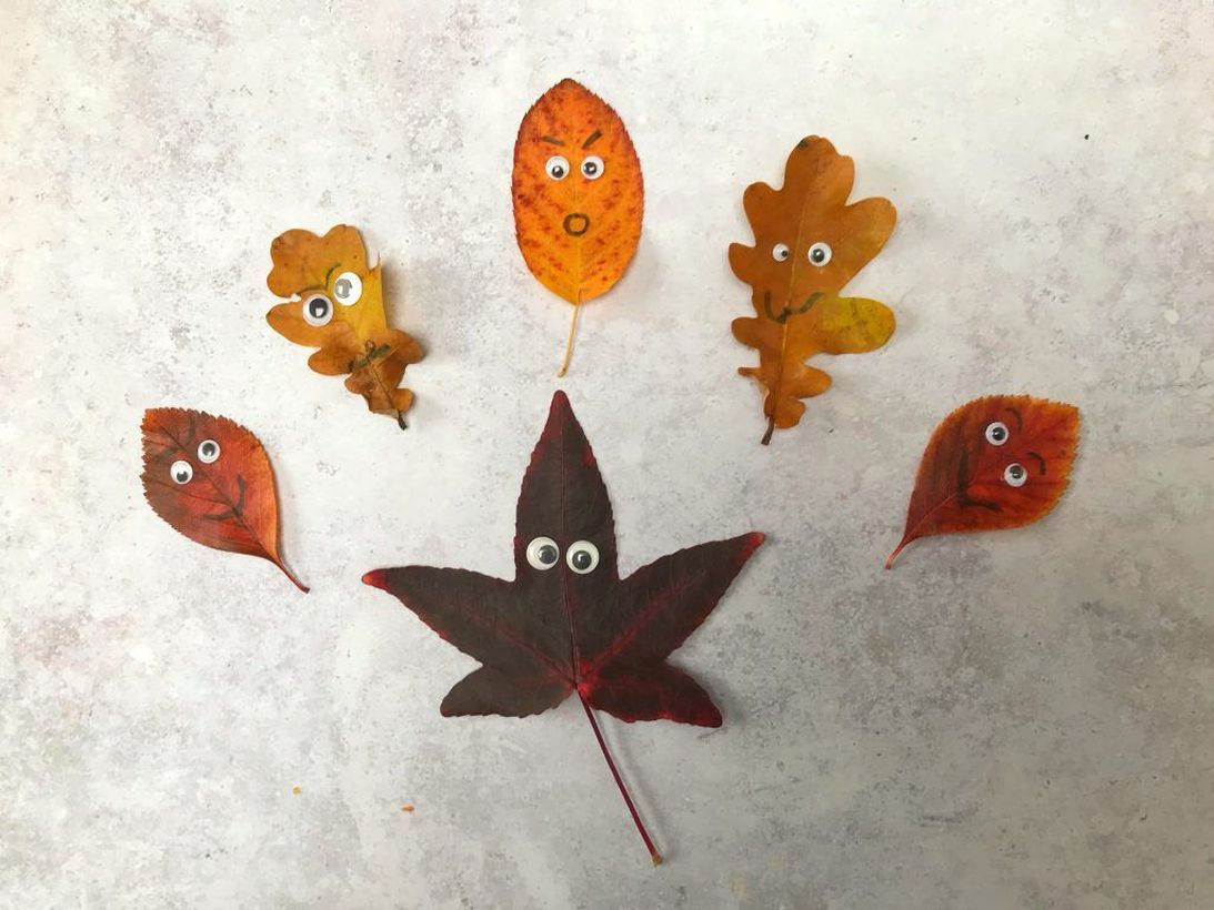Autumn leaves craft with eyes
