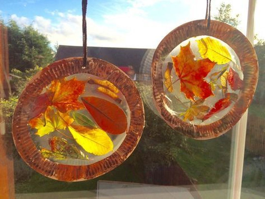 Hanging autumn leaves craft decoration