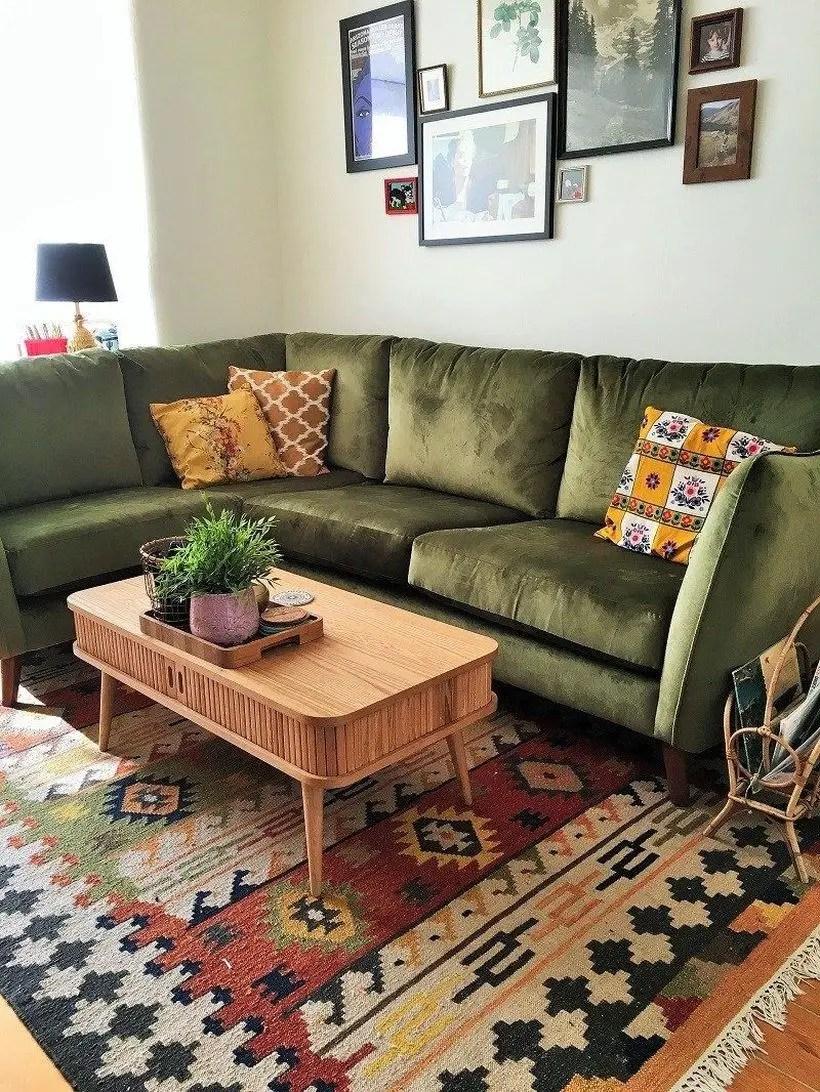 Dark green left sectional Sofa