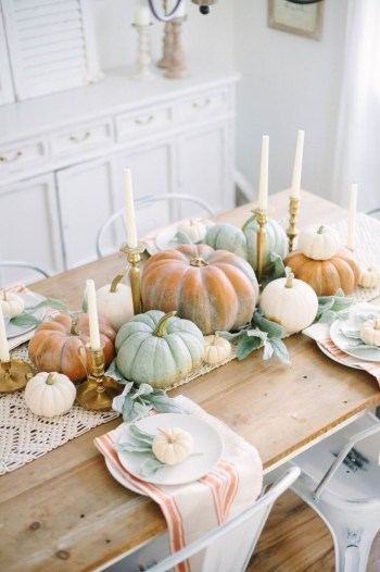 Pumpkins and candle decoration