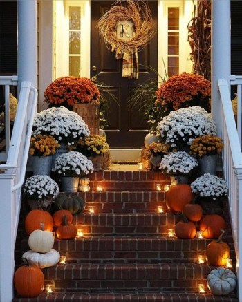 Pumpkins porch decoration and decorative lighting