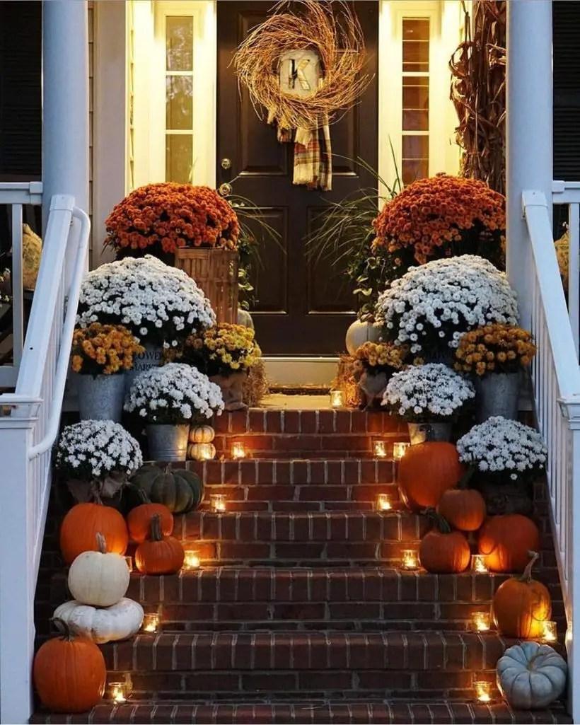 Pumpkins porch decoration and decorative lighting