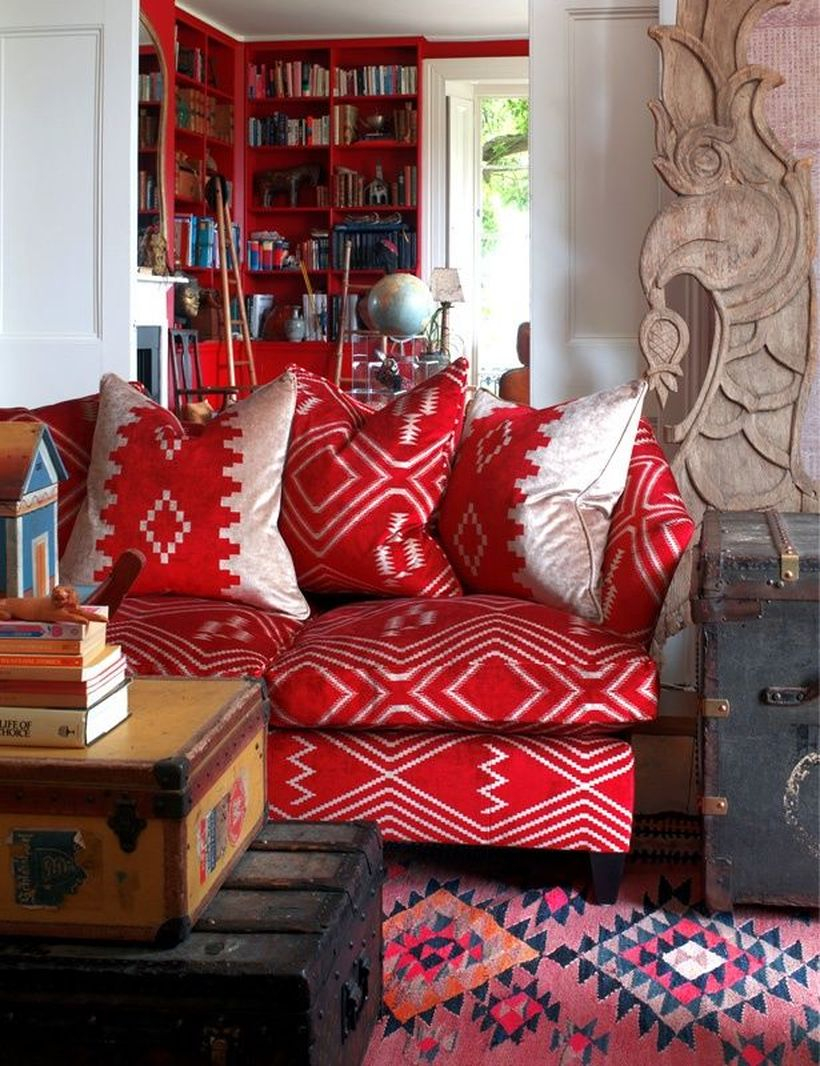 Patterned red sofa