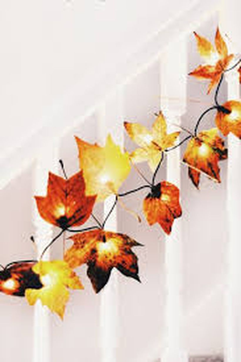 String lamps autumn leaves craft decoration