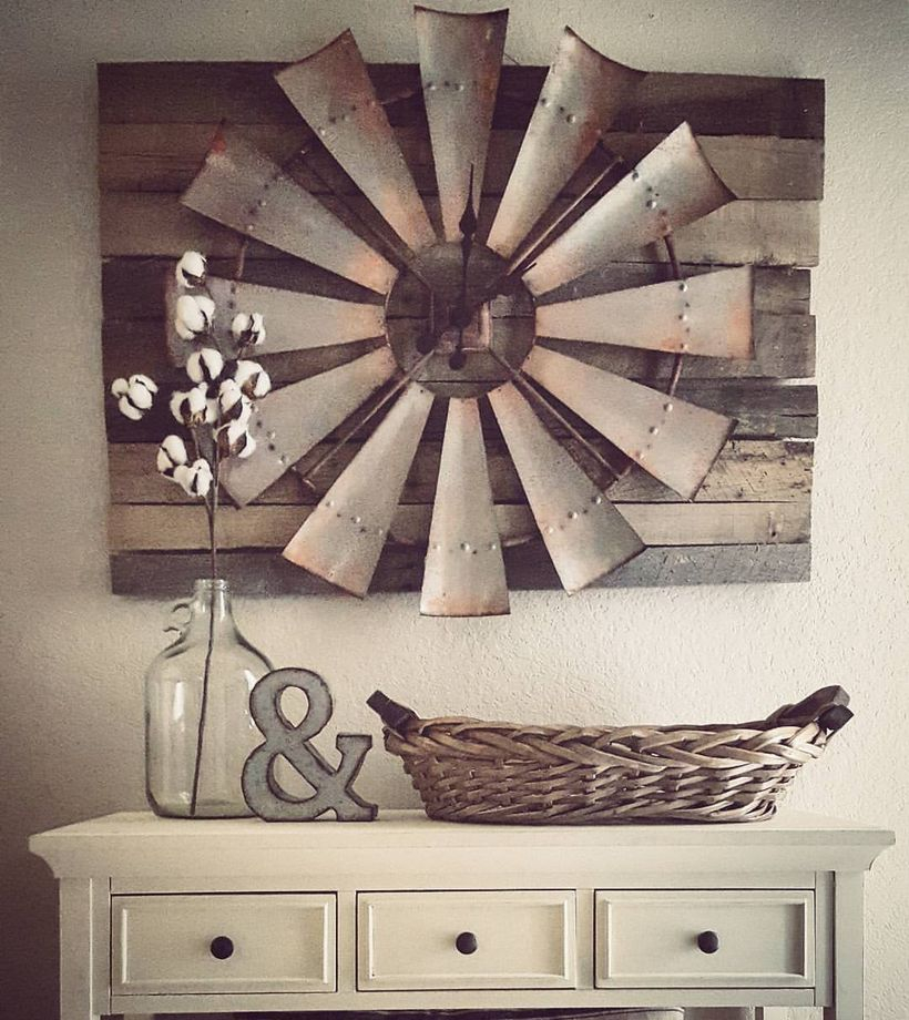 Unique rustic wall art ideas with a barn wood wall clock for your living room