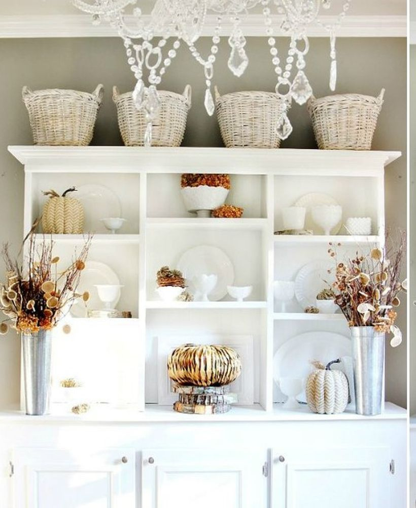 White cabinet to store white cup and ornamental pumpkins for your kitchen