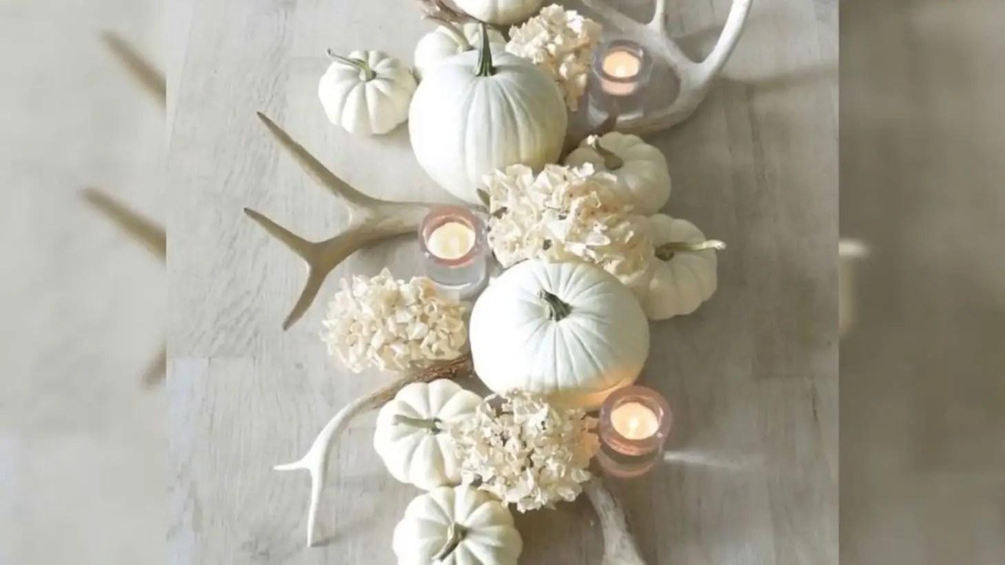 White pumkin and flowers centrepiece