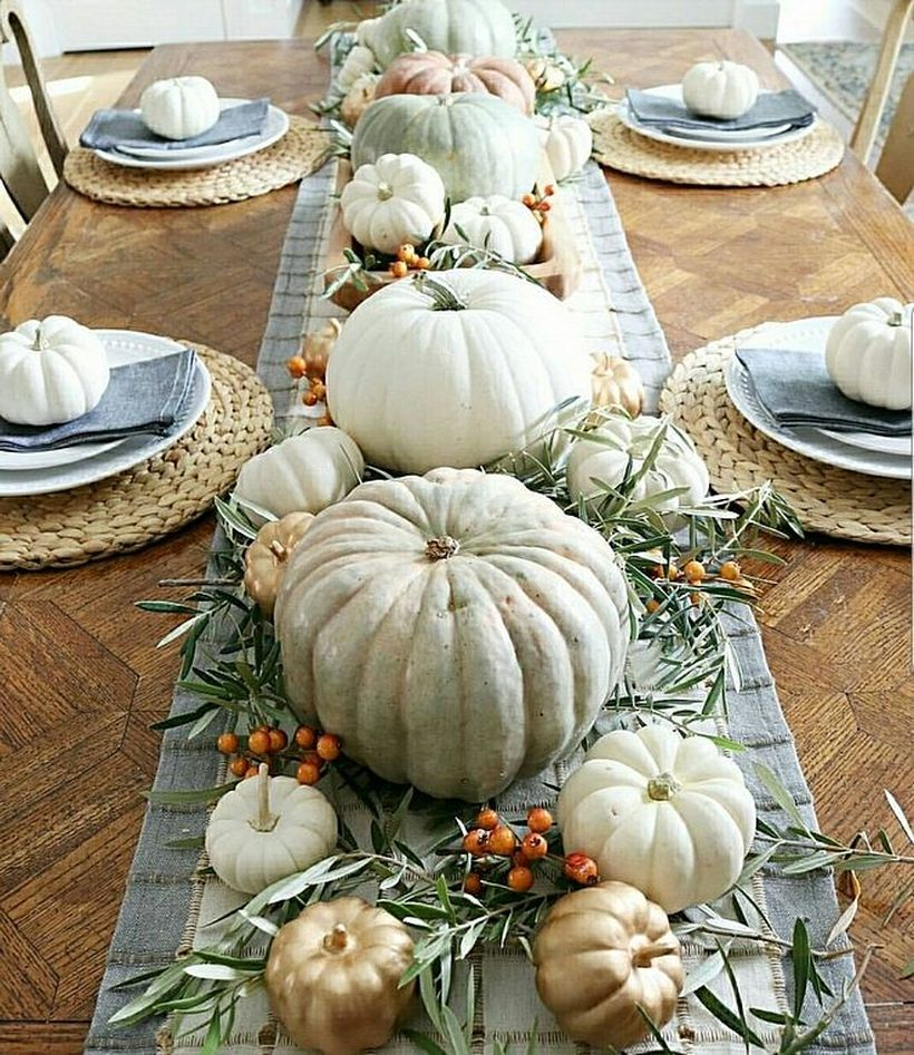 White pumpkins decoration for dining table