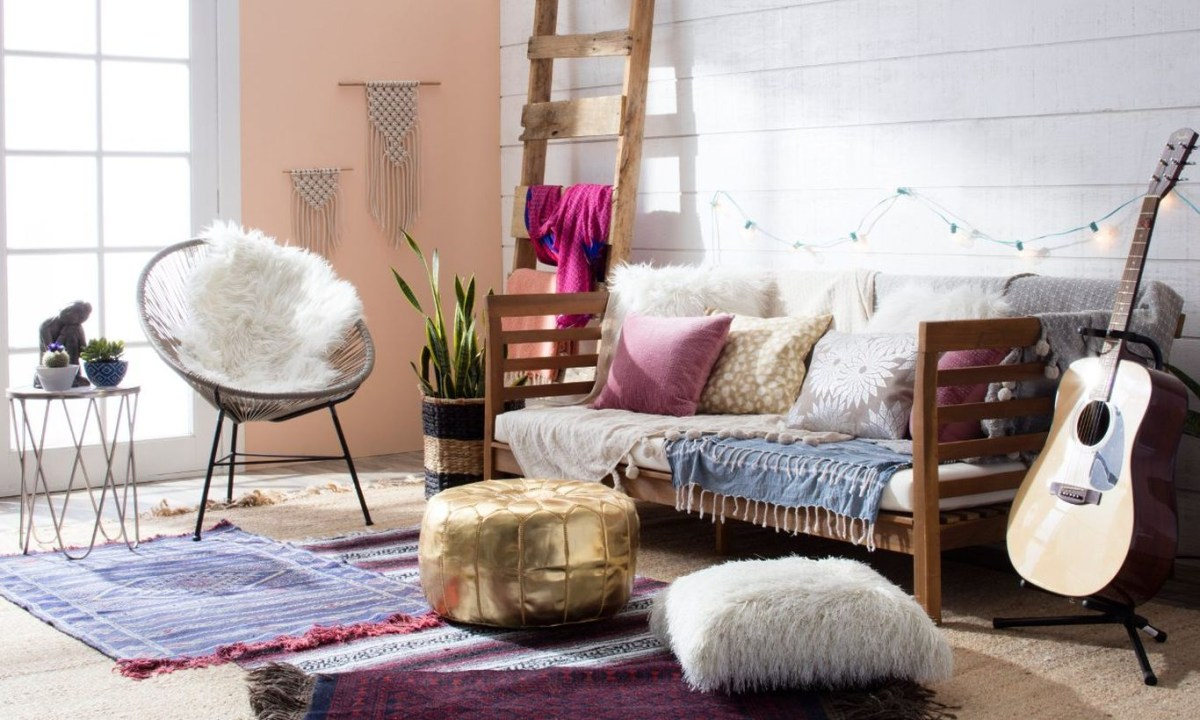 A gorgeous furniture for bohemian home decorating with long wooden boho features furniture draped in layers of textured textiles pile throw pillows on couches and floors to ensure comfort anywhere.