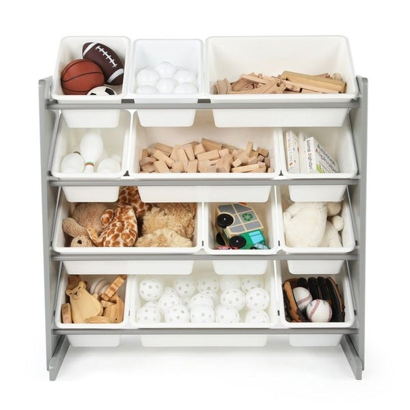 An awesome storage ideas with white color, multi level design to look simple