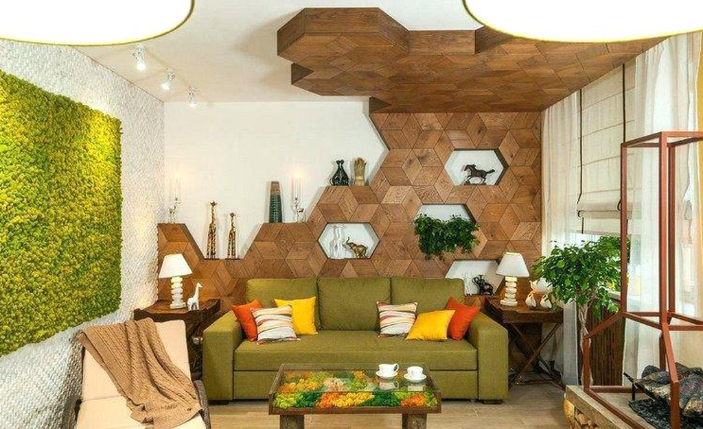 An amazing modern living room decor with nature table and wooden decoration combined with moss wall to perfect your living room