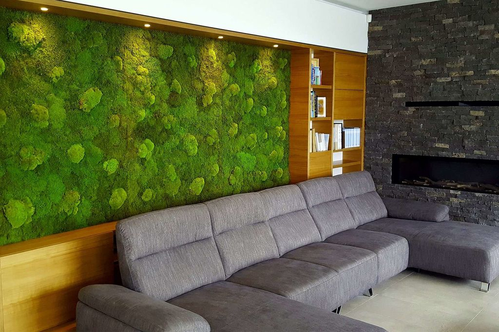 An awesome living room design with grey sofas combined with moss wall to beautify your living room design