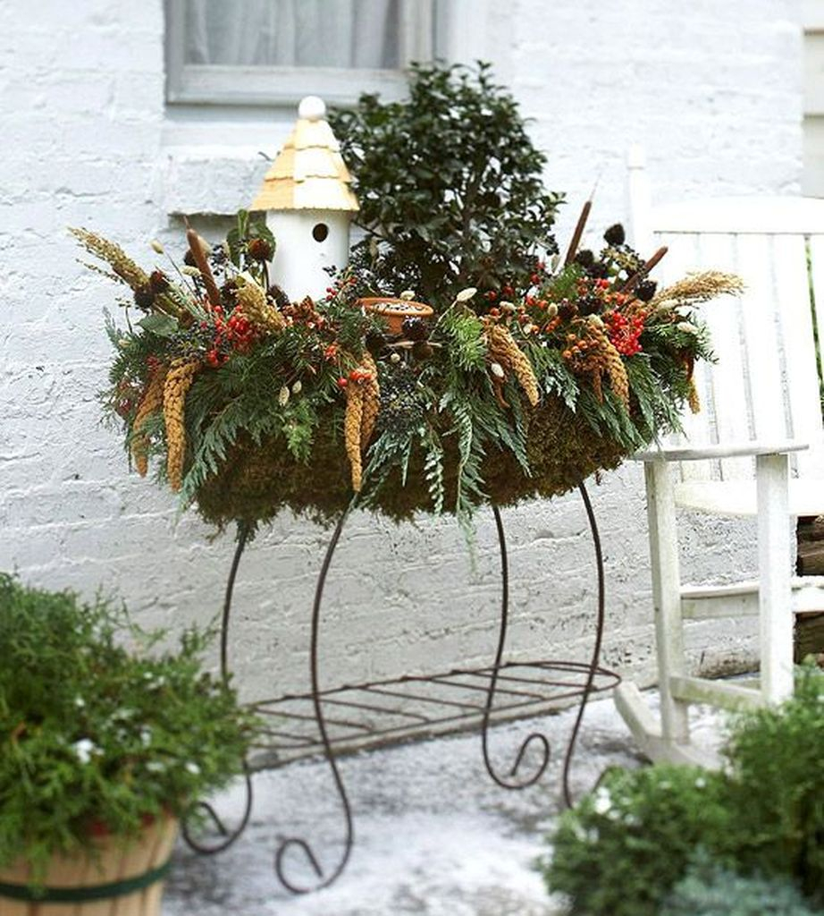 An awesome plants with metal stand for fall decoration