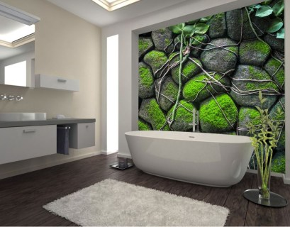 An elegant modern bathroom decor with moss wall in the stone to make impression nature in your bathroom decoration