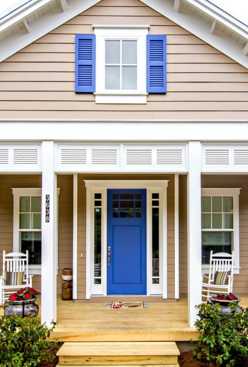 Awesome cobalt blue front door is suitable for your farm house to look different