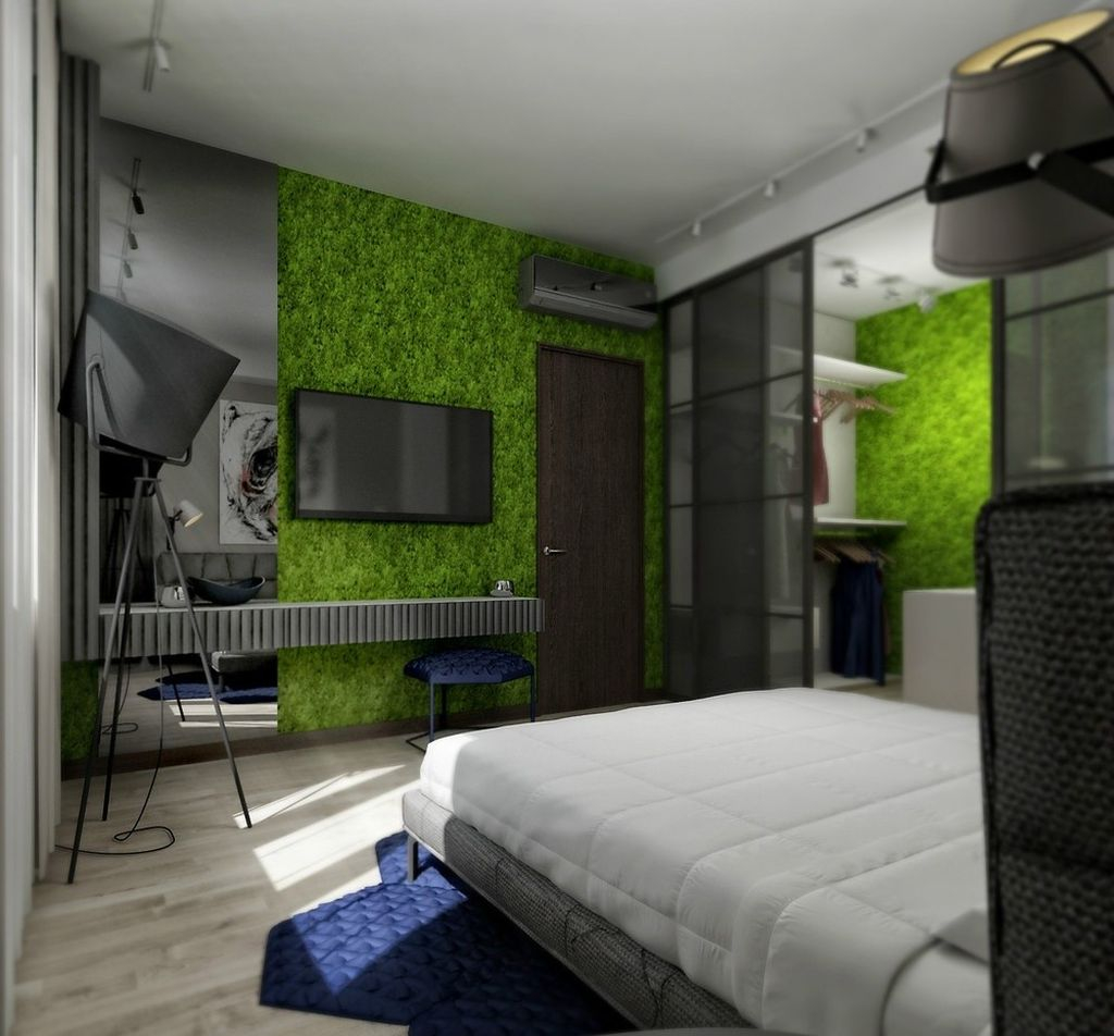 Beautiful modern bedroom design with neutral color and moss wall in the wall to perfect in your bedroom