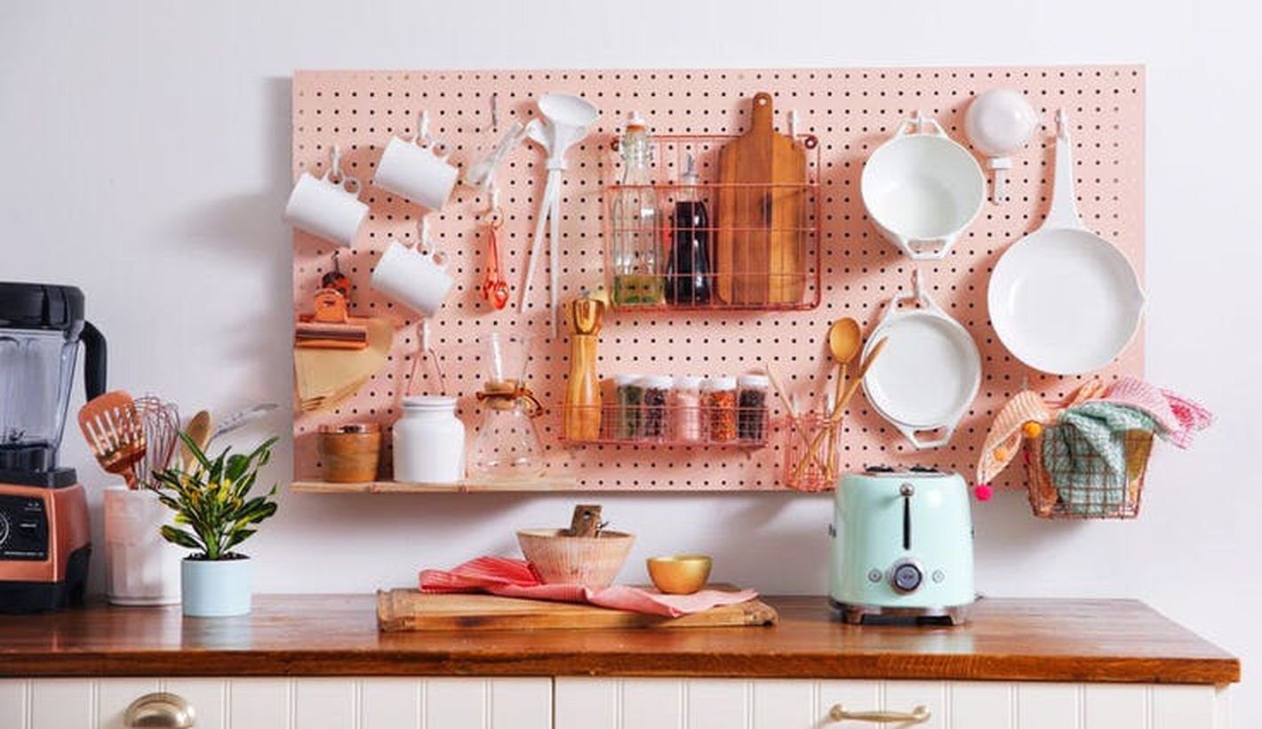 Best home decoration diy projects with pegboard organization to arrange storage for kitchen utensils