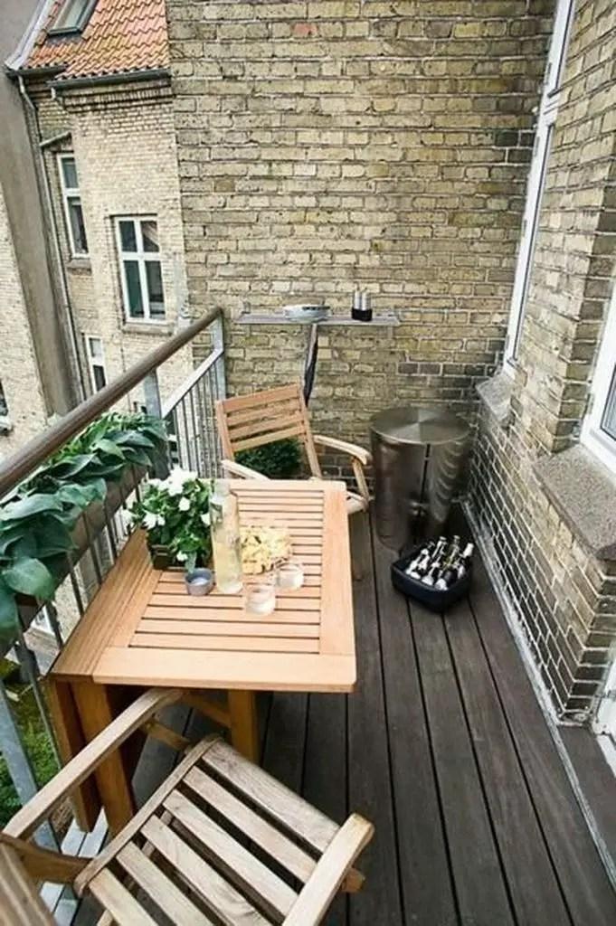 Brick walls for balcony with wooden floor