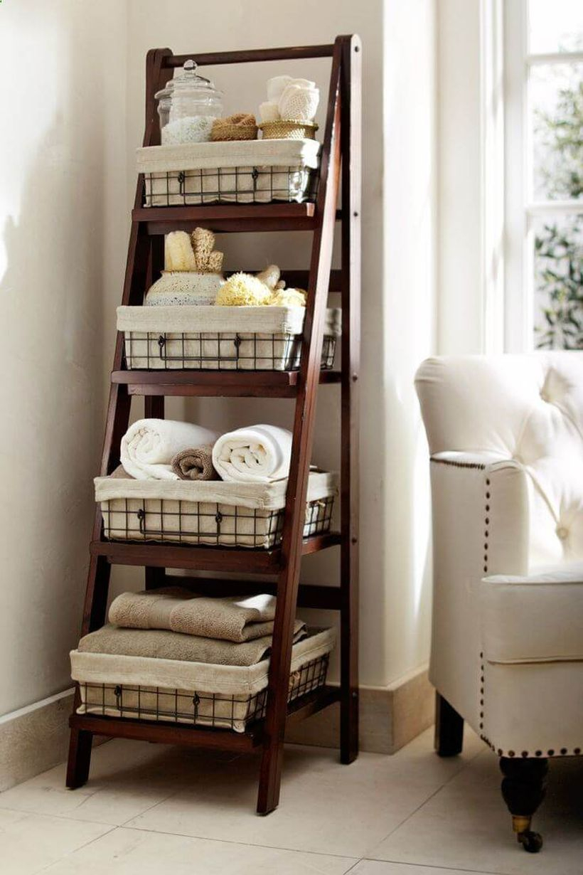 Diy home decoration projects with old ladder ideas for the bathroom