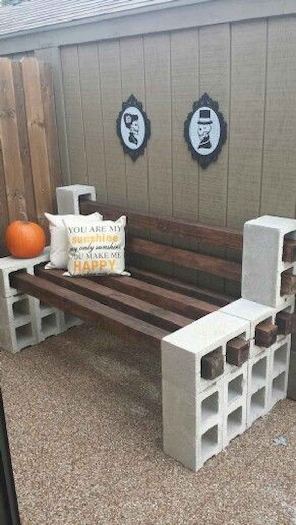 Diy wooden bench with brickwork stand
