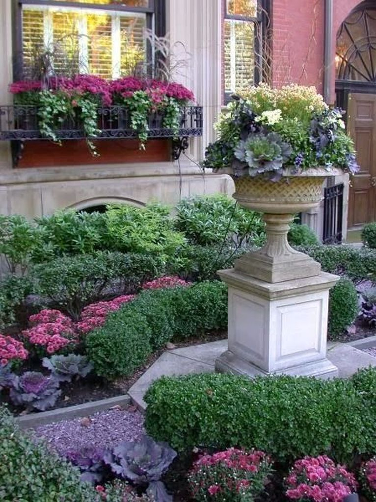Front yard decoration with plants and beautiful flowers