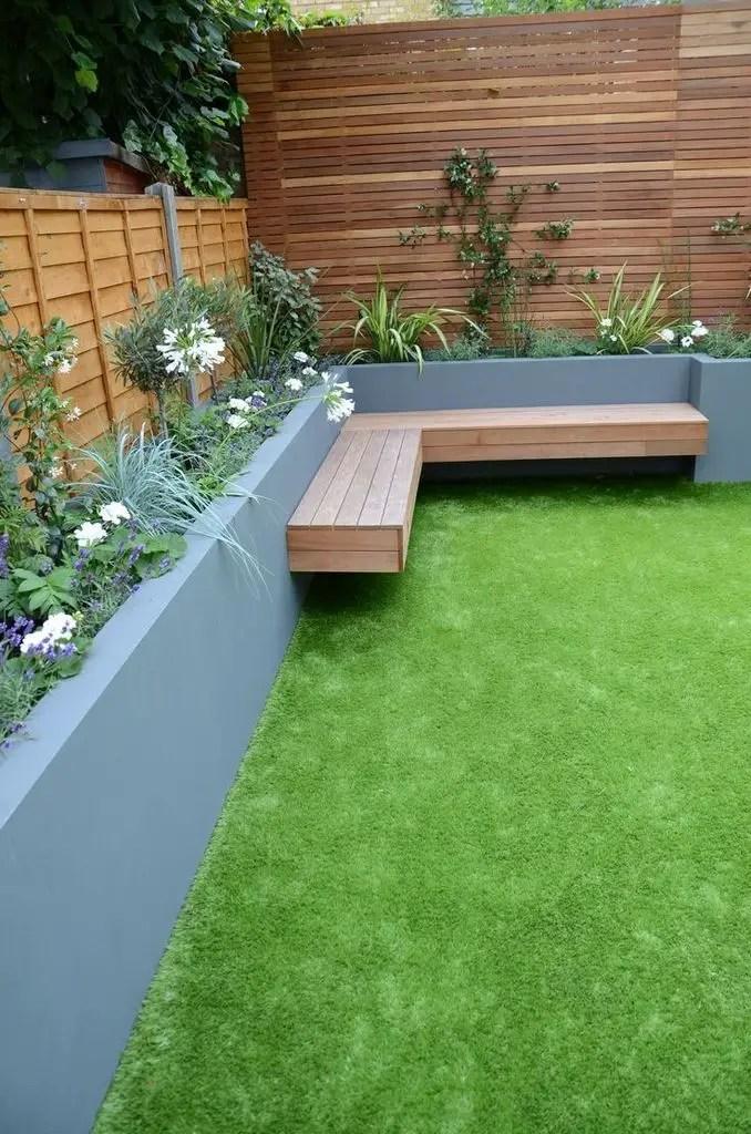 Garden design with wooden bench at the corner