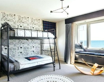 Gorgeous boys room decoration with gray mattress, white blanket, gray pillow, wall pattern decoration to look modern