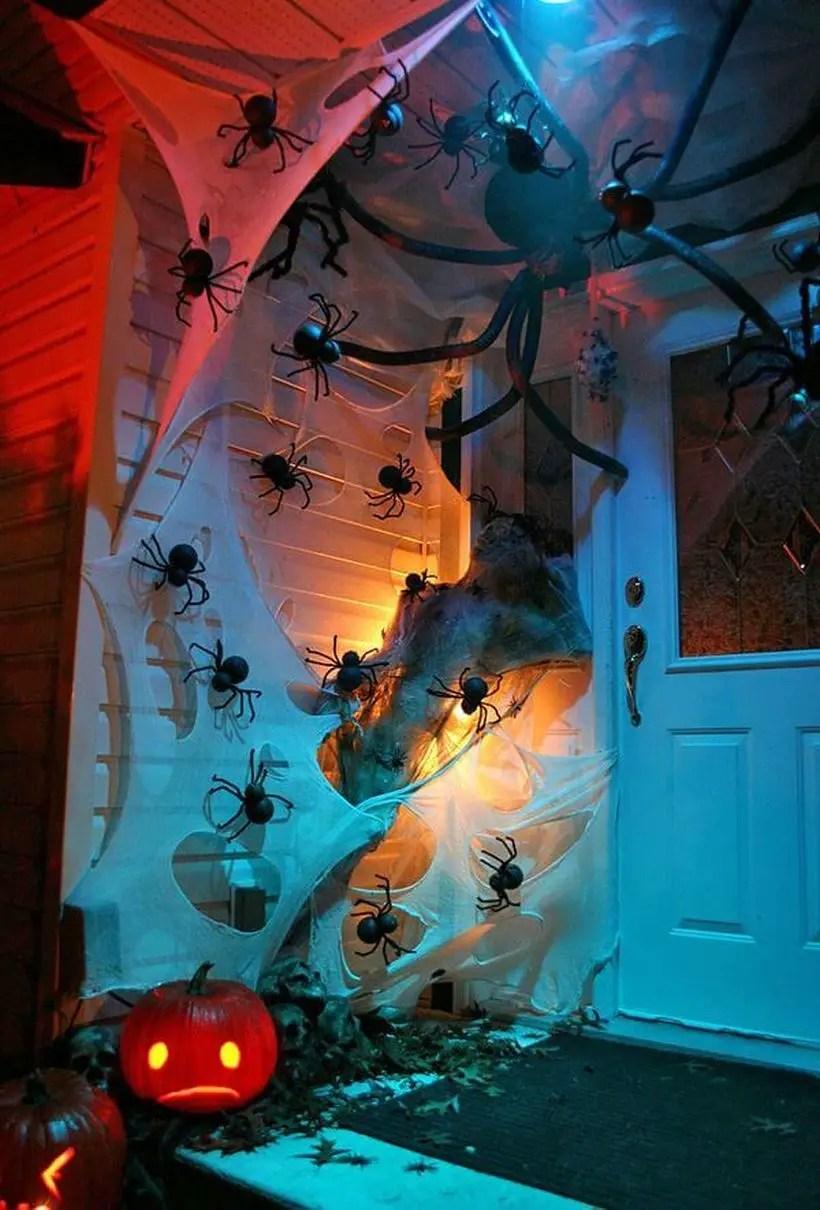 Magnificent giant spider halloween door.