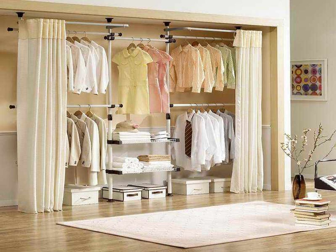 Minimalist wardrobe with drawers.