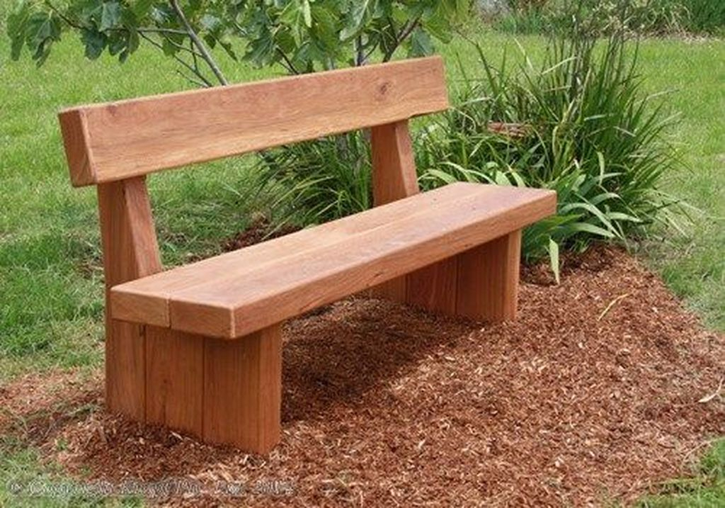 Simple wooden bench for outdoor