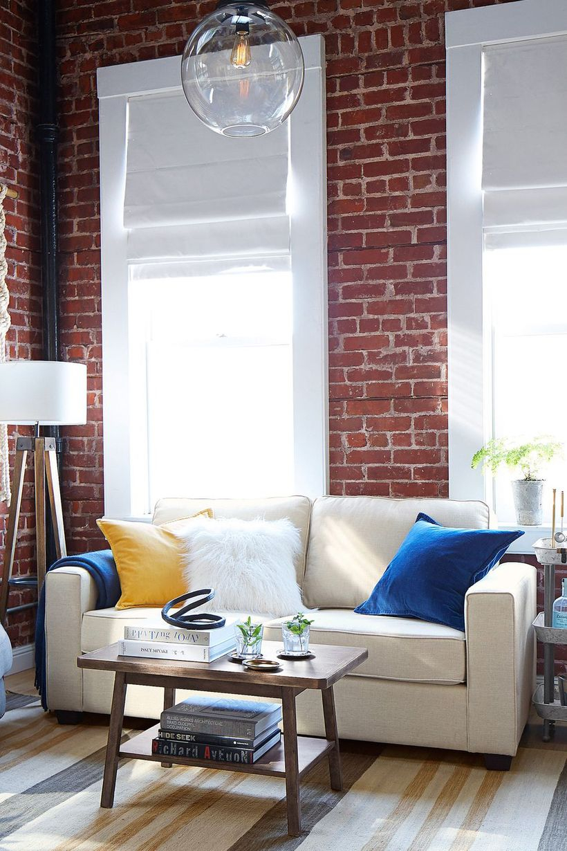 Soma fremont square arm upholstered sofa.