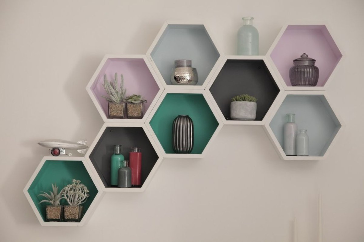 Unique rack placement succulent ideas with white pentagon design on the wall to look stunning