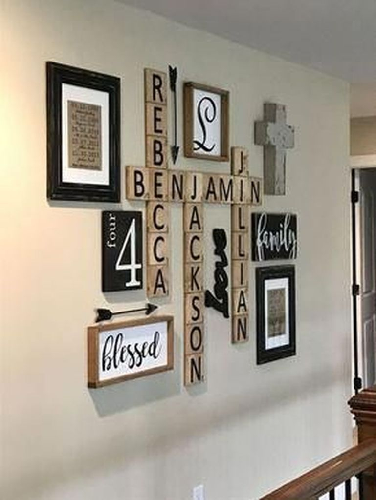 Wall gallery combined with wooden cross word