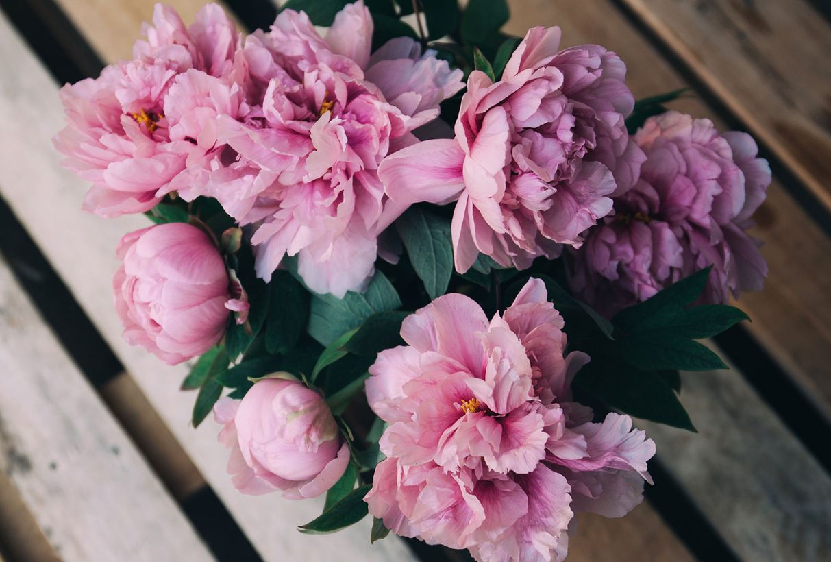 Wedding flower bouquet with the lush and fragrant peony provides a romantic look