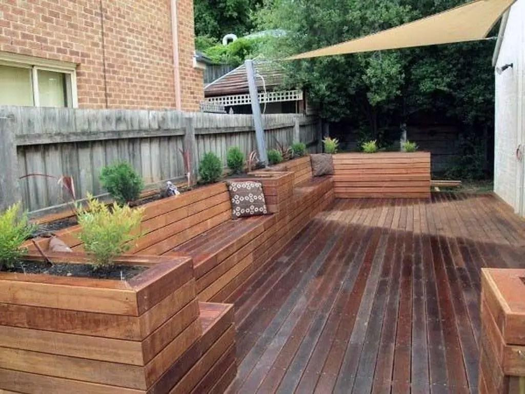 Wooden bench combined with wooden floor