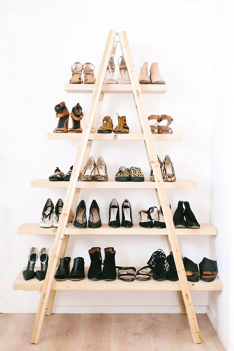 Awesome diy projects with modern ladder a-line to store shoes arrangment
