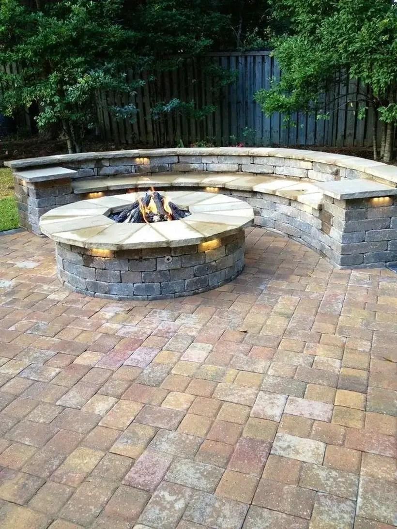 Backyard circle fire pit