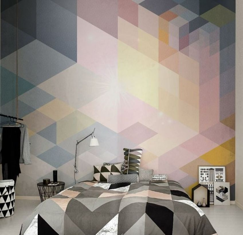 Best wall painting ideas for bedroom with geometric painting shapes and geometric blanket