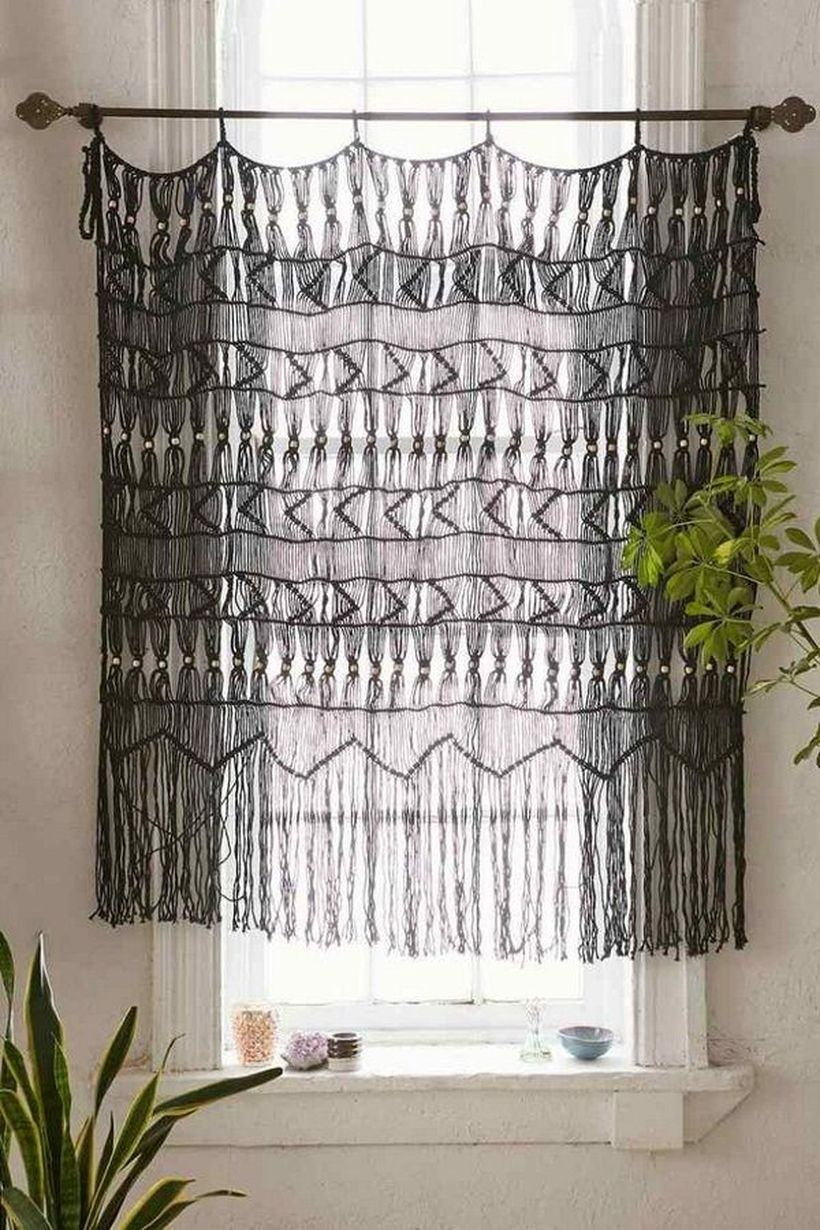 Black knit curtain