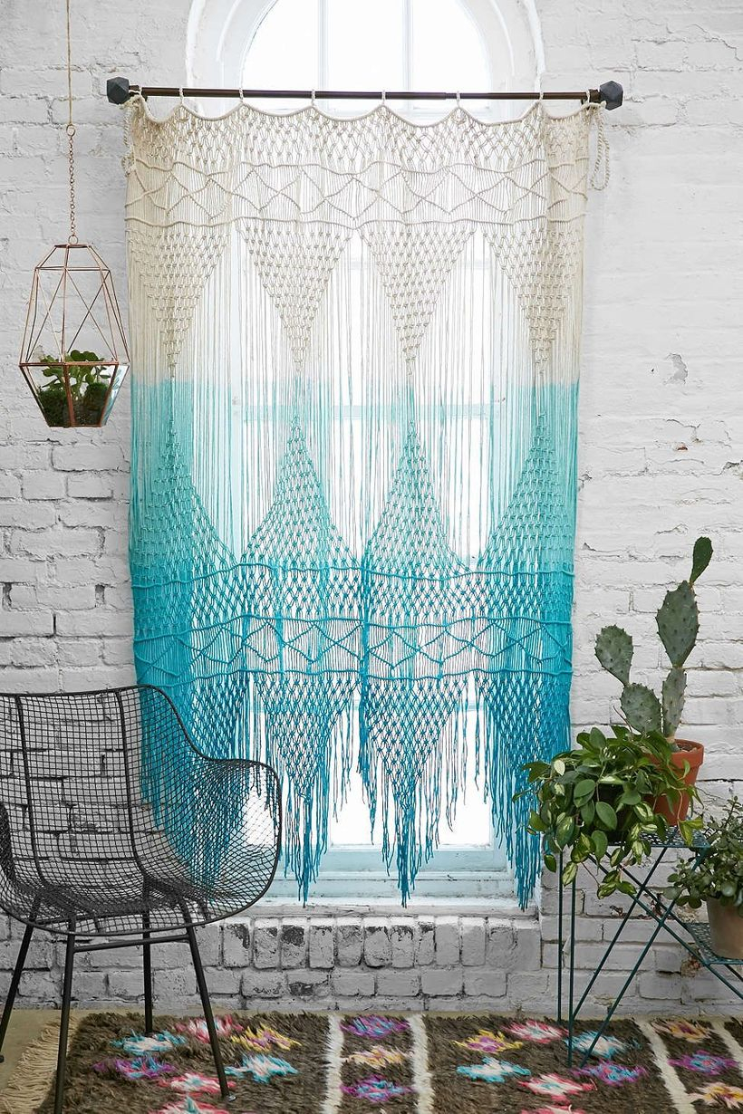 Blue and white patern curtain