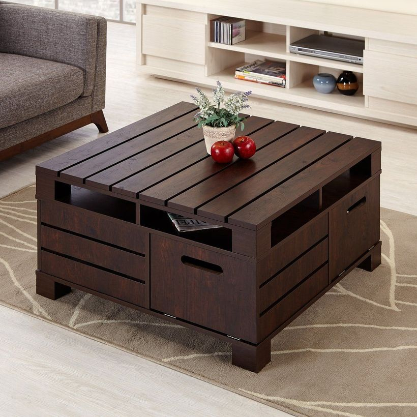 Brown wooden pallet coffee table