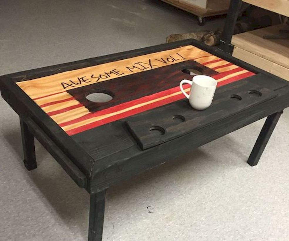 Creative coffee table with radio cassette theme
