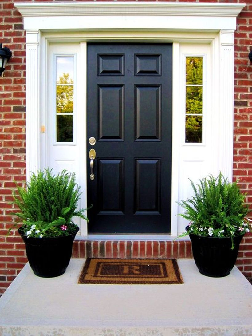 Elegant black door and black palnter with greenery for modern stylish porch