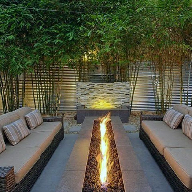 Elegant outdoor long fire pit
