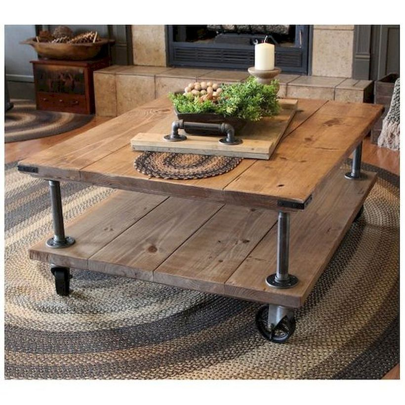 Farmhouse coffee table with wheel underneath