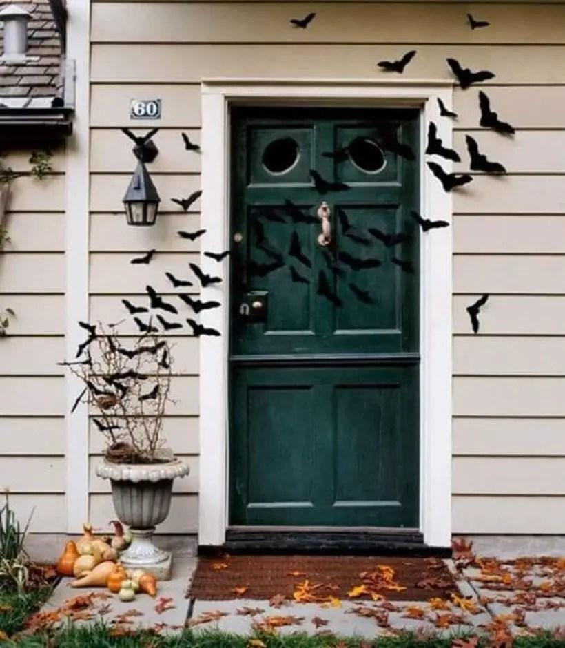 Felt bats halloween door.